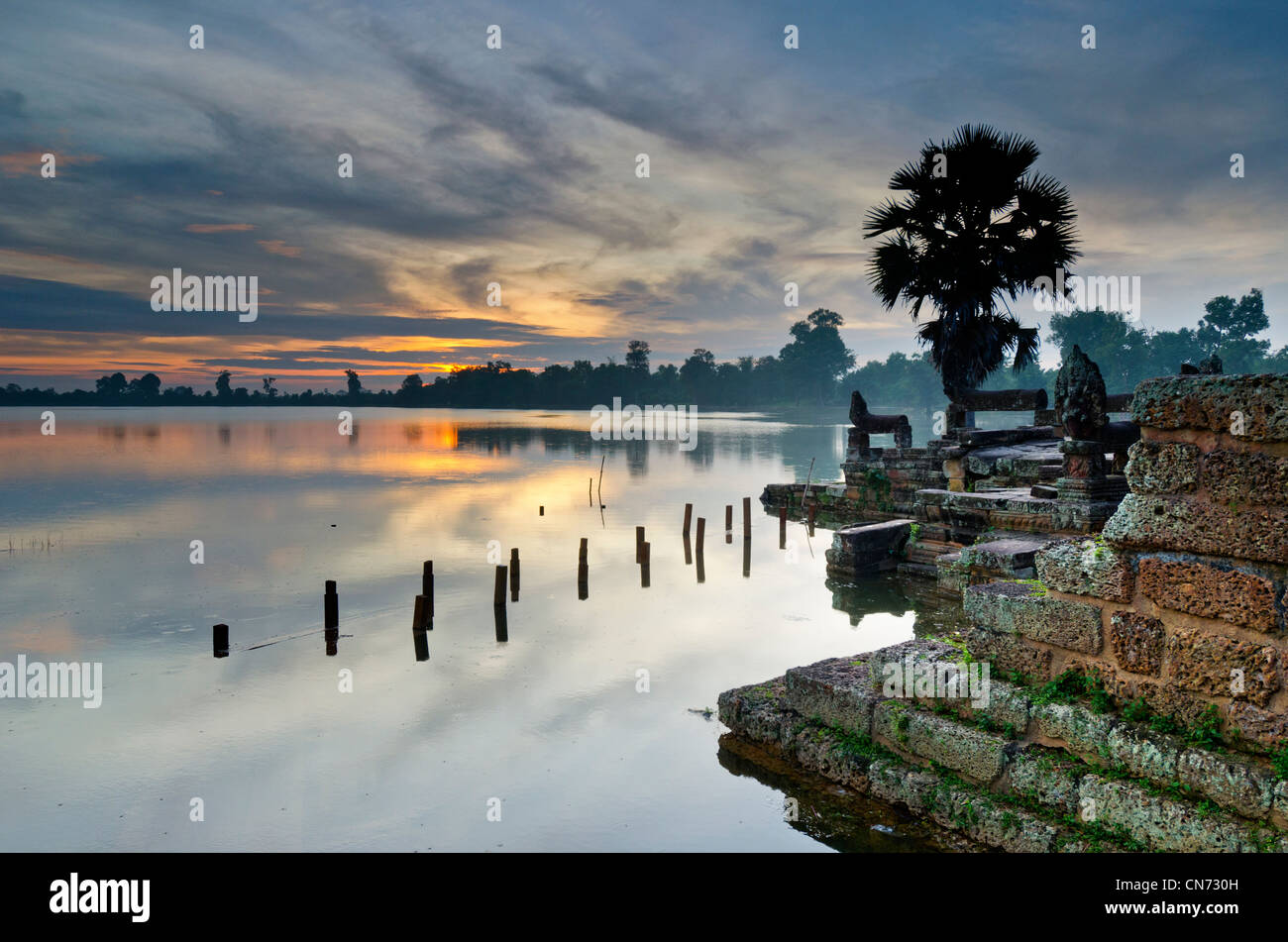 Sunrise from Srah Srang Temple over Moat, Ankor Wat, Cambodia Stock Photo