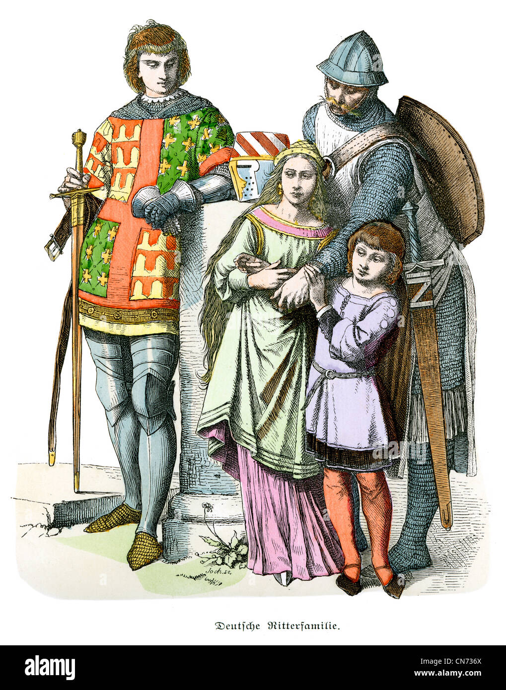 German knightly family from the 13th Century - Stock Image