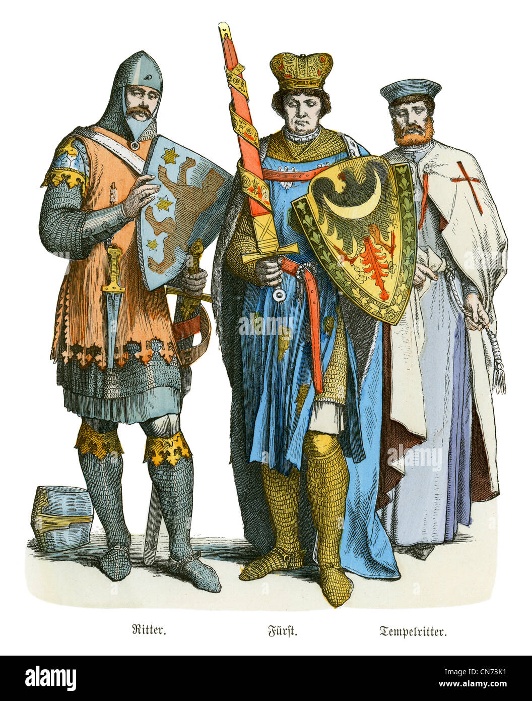 A Knight, Prince and Templar from the 13th Century - Stock Image