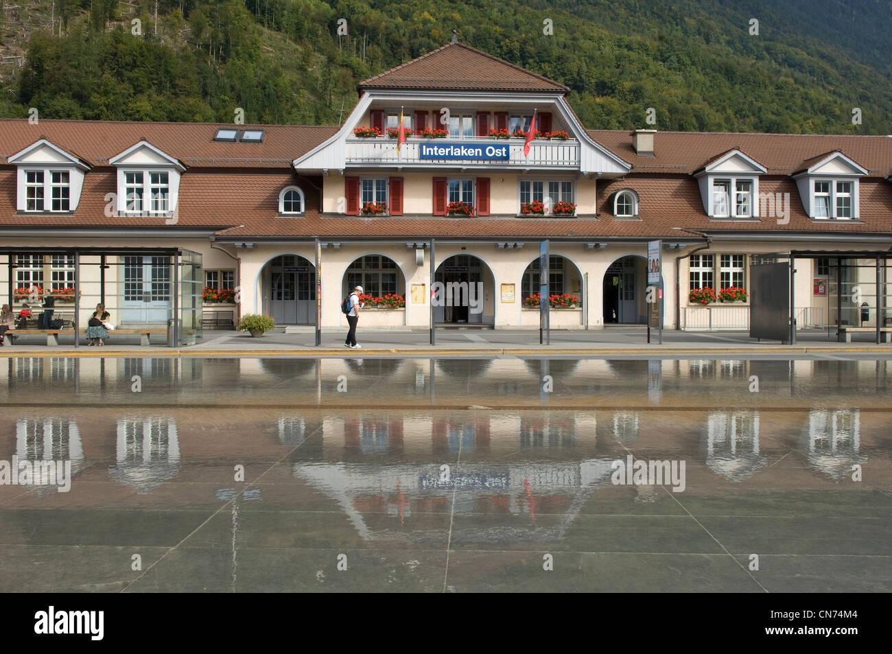 Ost station in Interlaken in the Canton of Bern in Switzerland - Stock Image