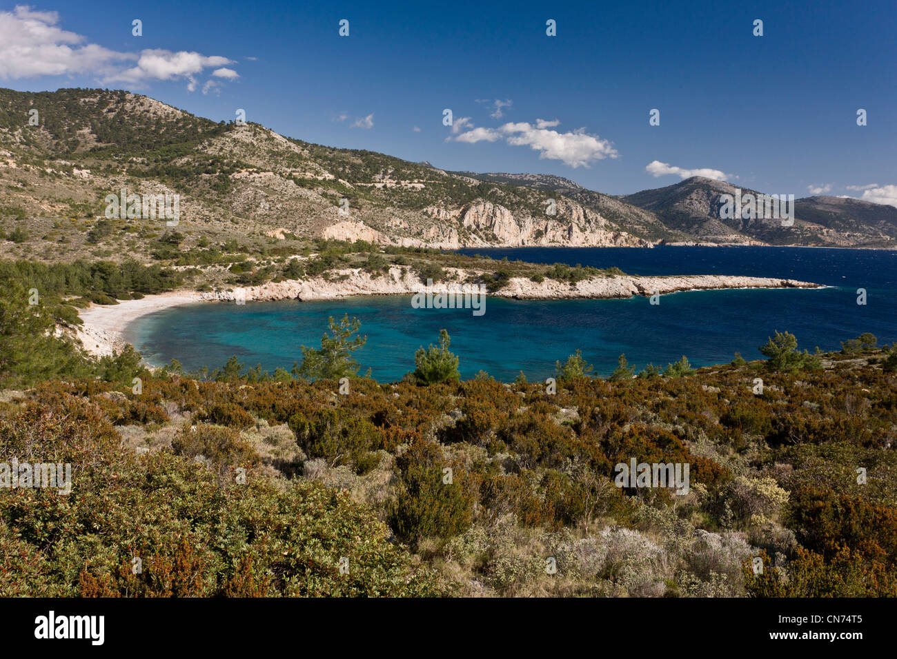 Tighani Bay, on the unspoilt west coast of Chios, Greece. - Stock Image