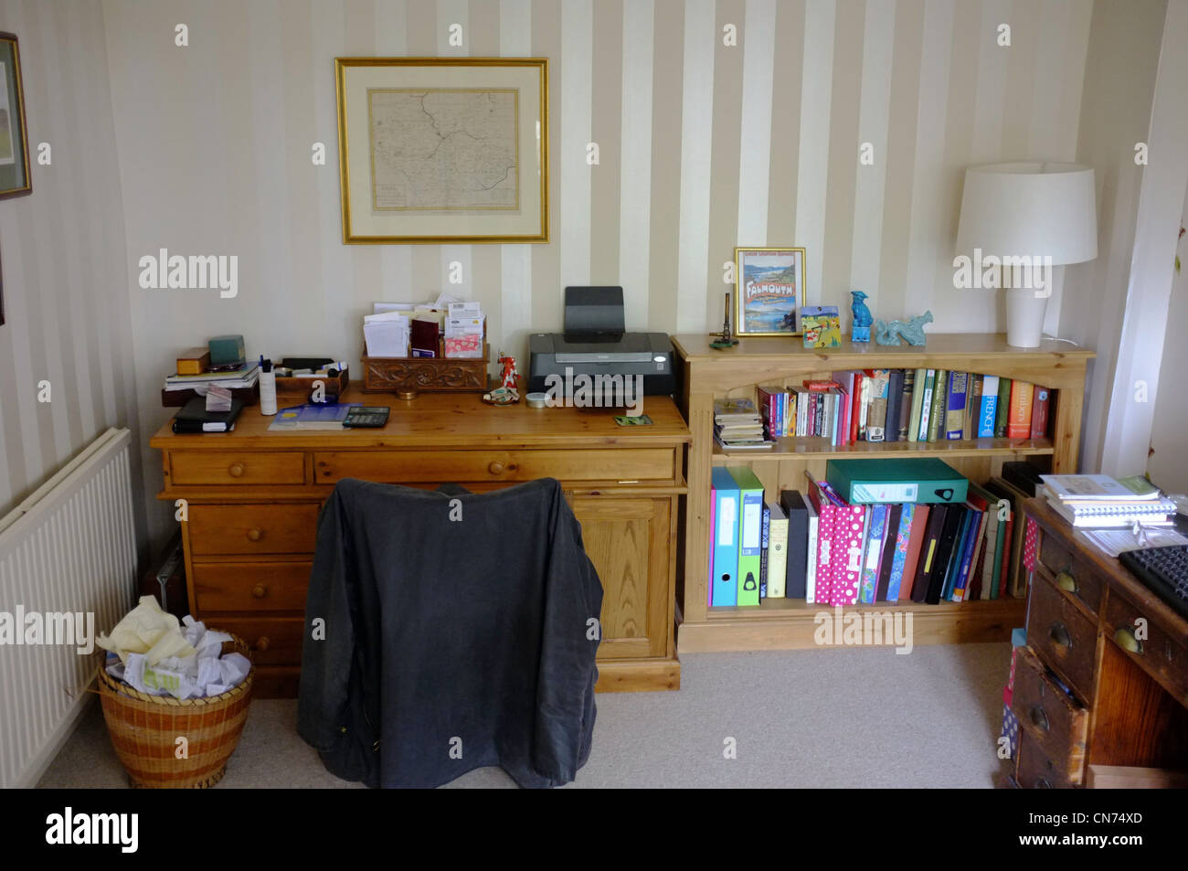 tidy office. A Tidy Pensioners Office At Home - Stock Image