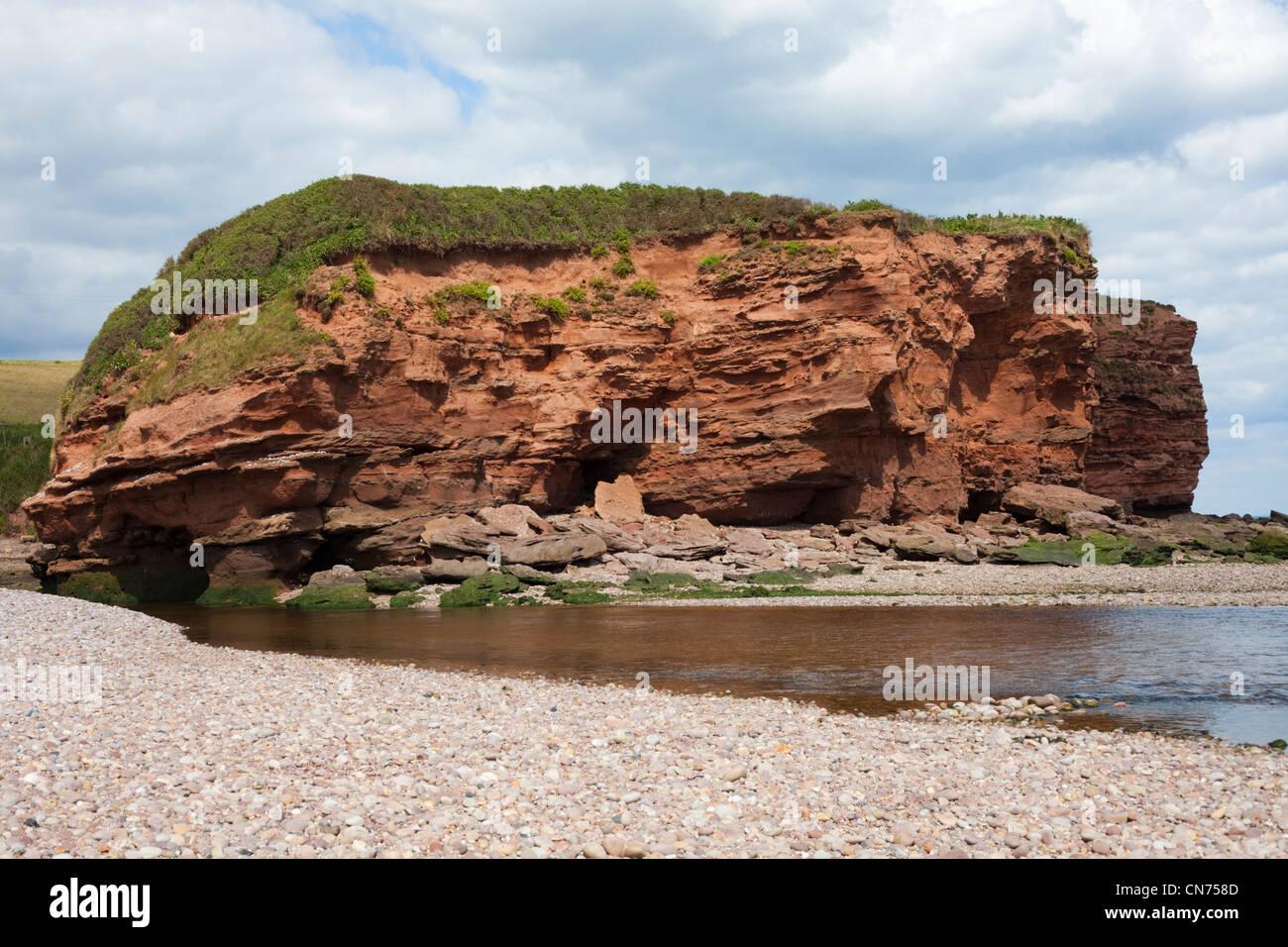 Sandstone rock formations at Otter Head, Budleigh Salterton, Devon, UK - Stock Image