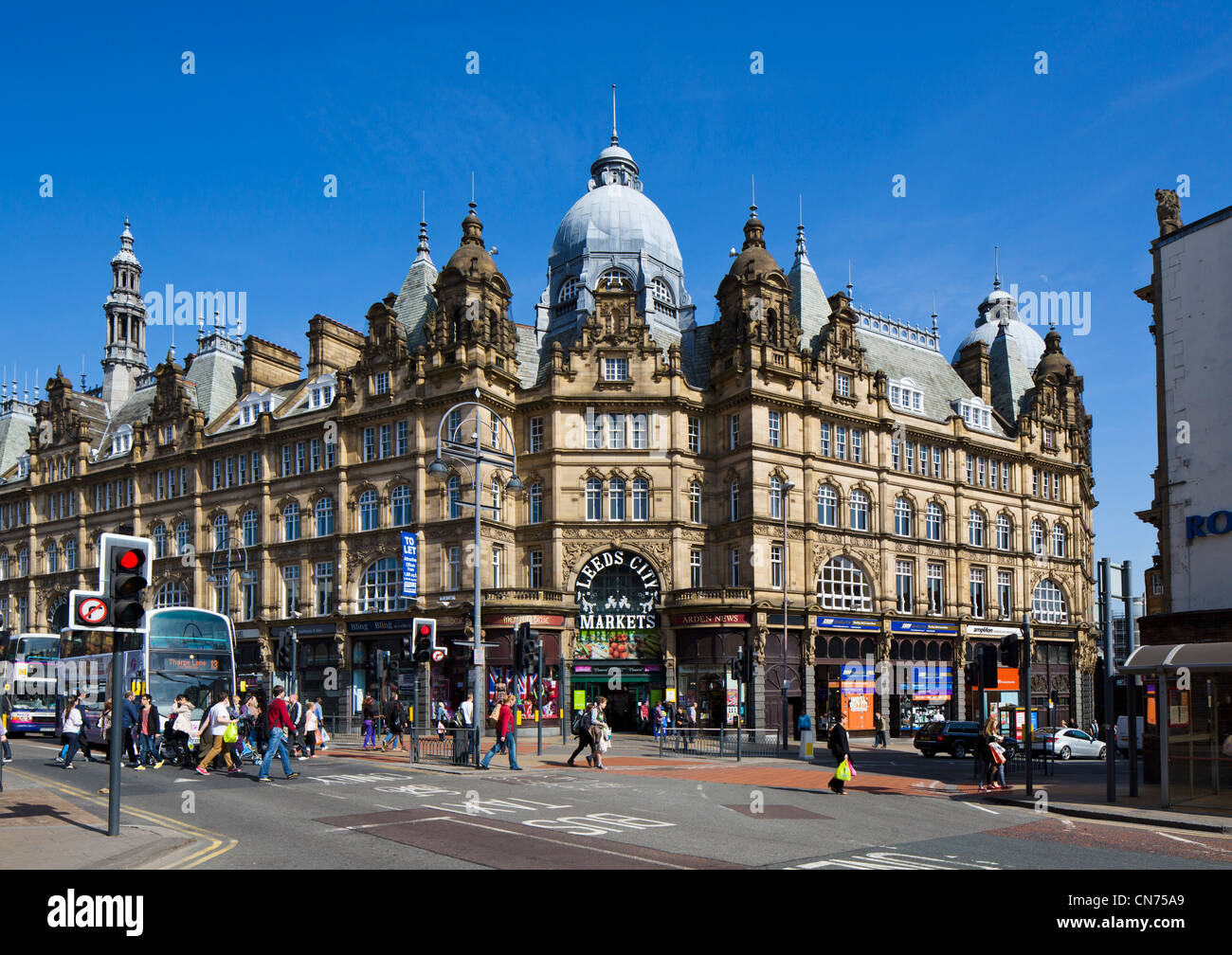 Exterior of the Edwardian Leeds City Markets (Kirkgate Market), Leeds, West Yorkshire, England - Stock Image