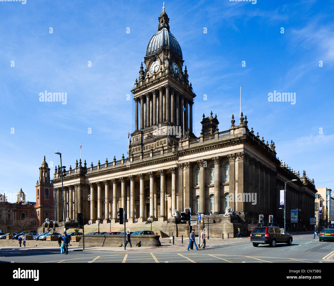 Leeds Town Hall designed by the local architect Cuthbert Broderick, Leeds, West Yorkshire, England - Stock Image