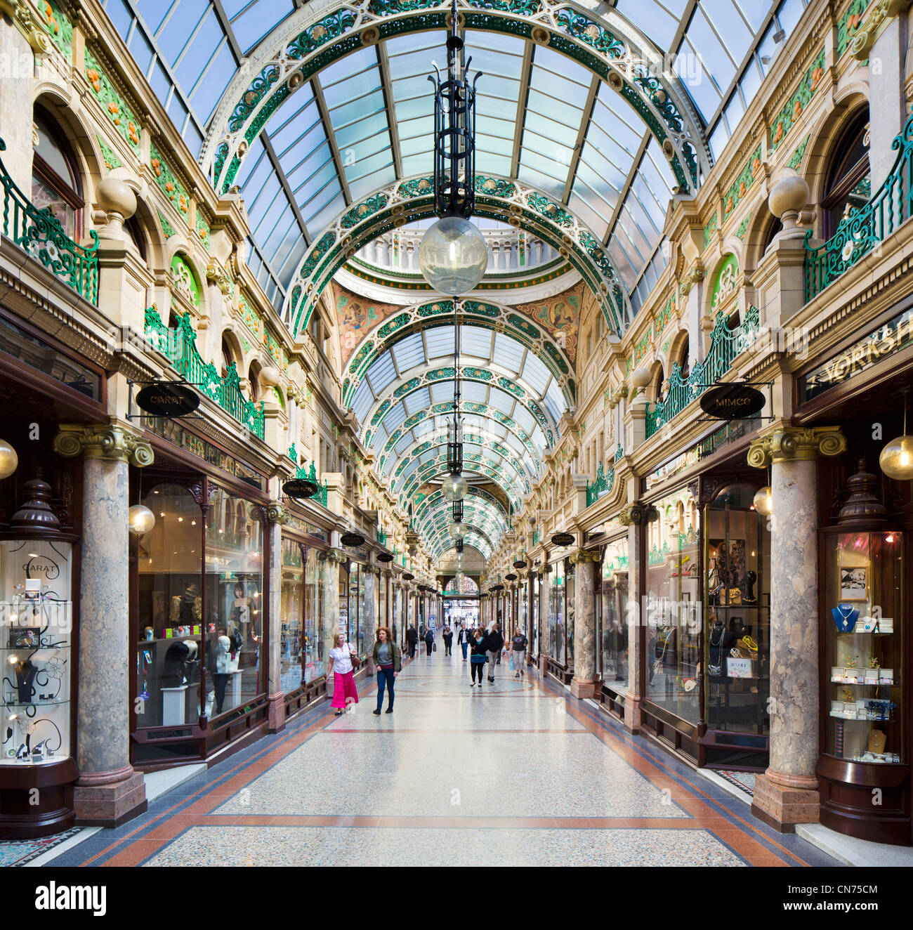 Shops in the County Arcade in the Victoria Quarter, Briggate, Leeds, West Yorkshire, England - Stock Image