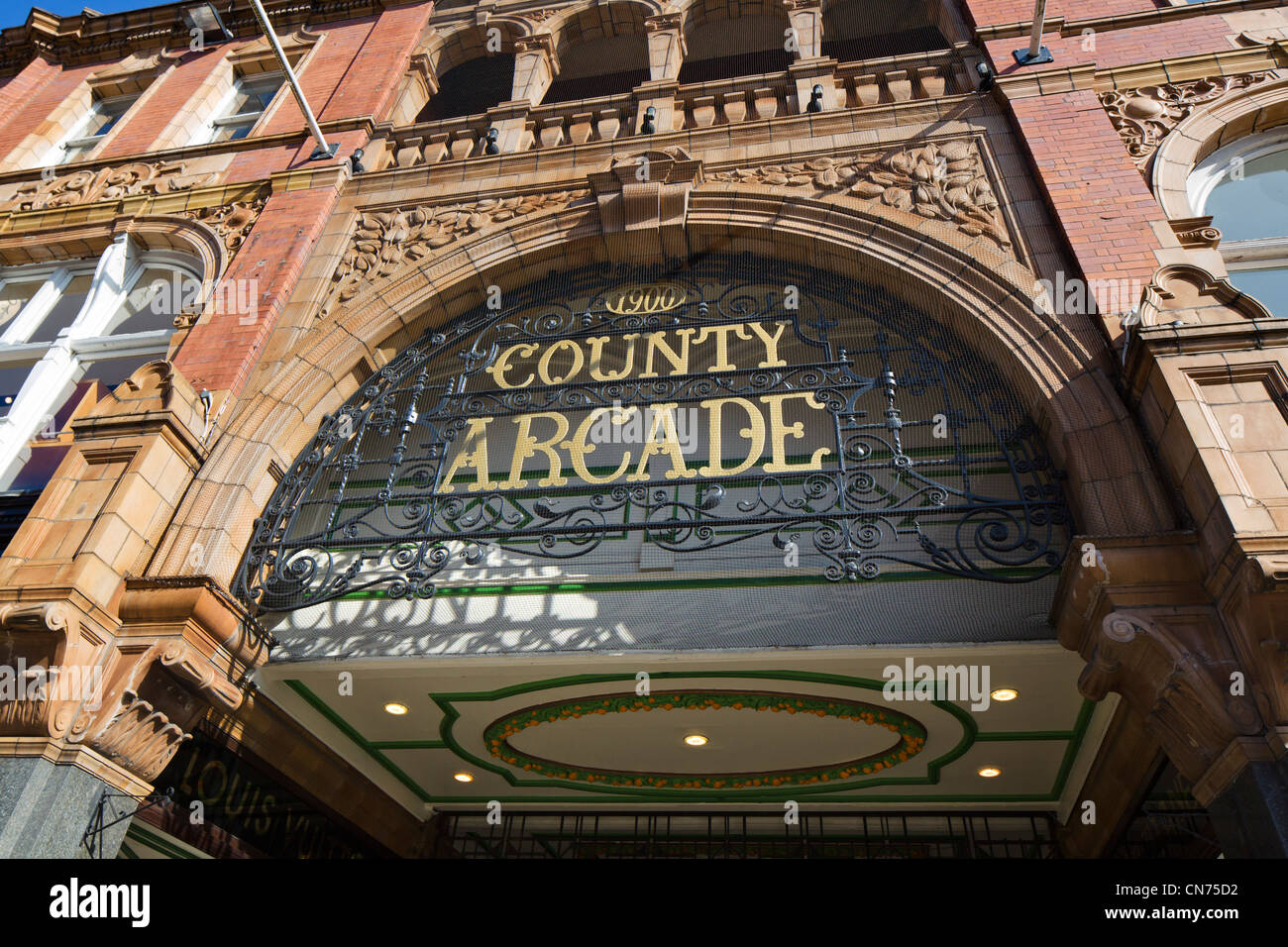 Entrance to the County Arcade in the Victoria Quarter, Briggate, Leeds, West Yorkshire, England - Stock Image