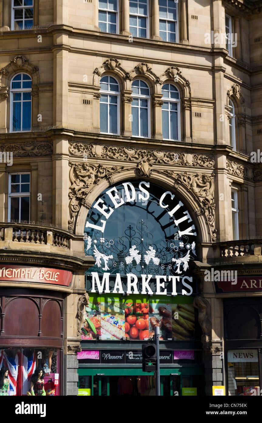 Exterior of the Edwardian Leeds City Marets (Kirkgate Markets), Leeds, West Yorkshire, England - Stock Image
