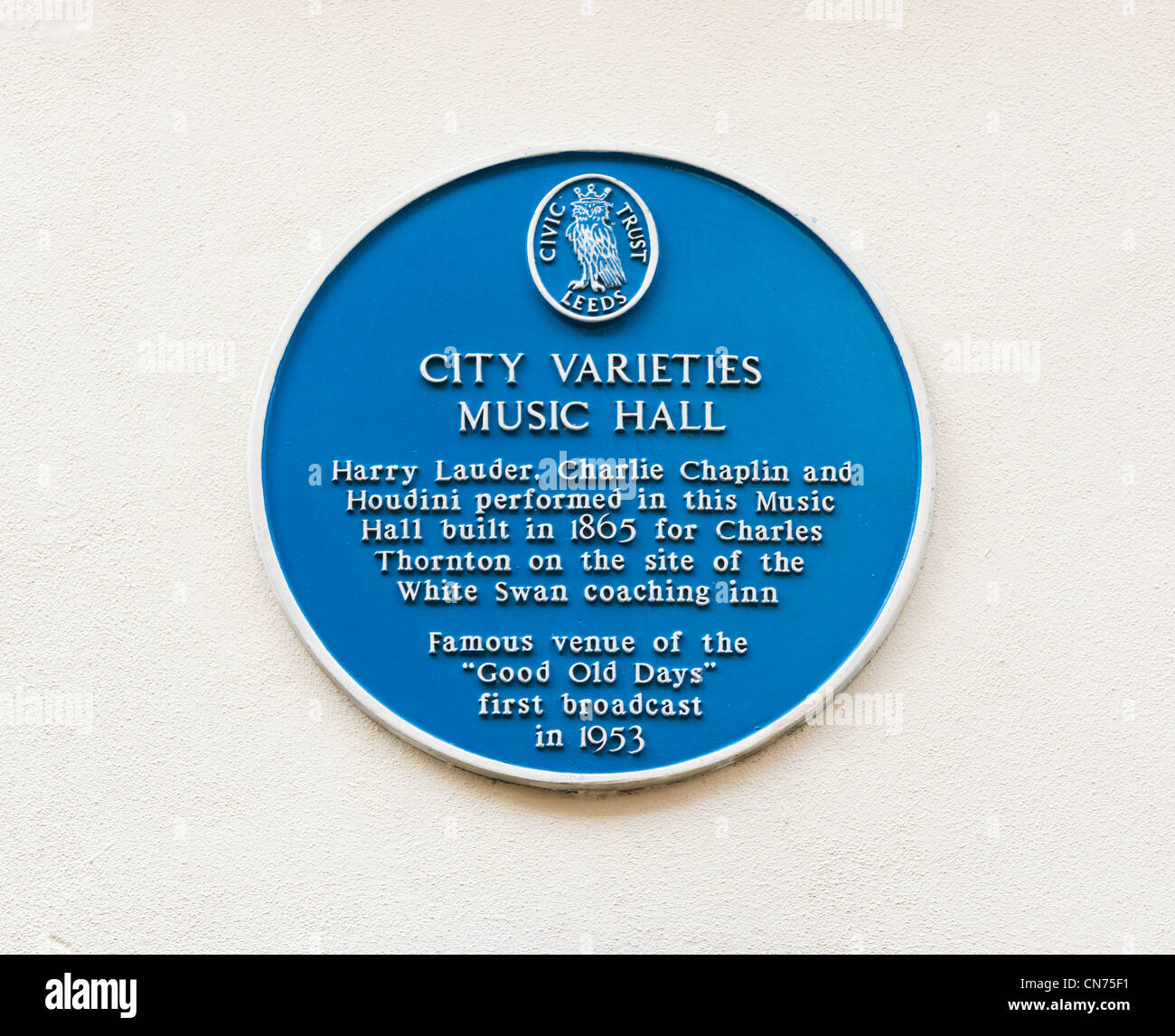 Blue plaque outside the Leeds City Varieties Music Hall, Swan Street, just off Briggate, Leeds, West Yorkshire, - Stock Image