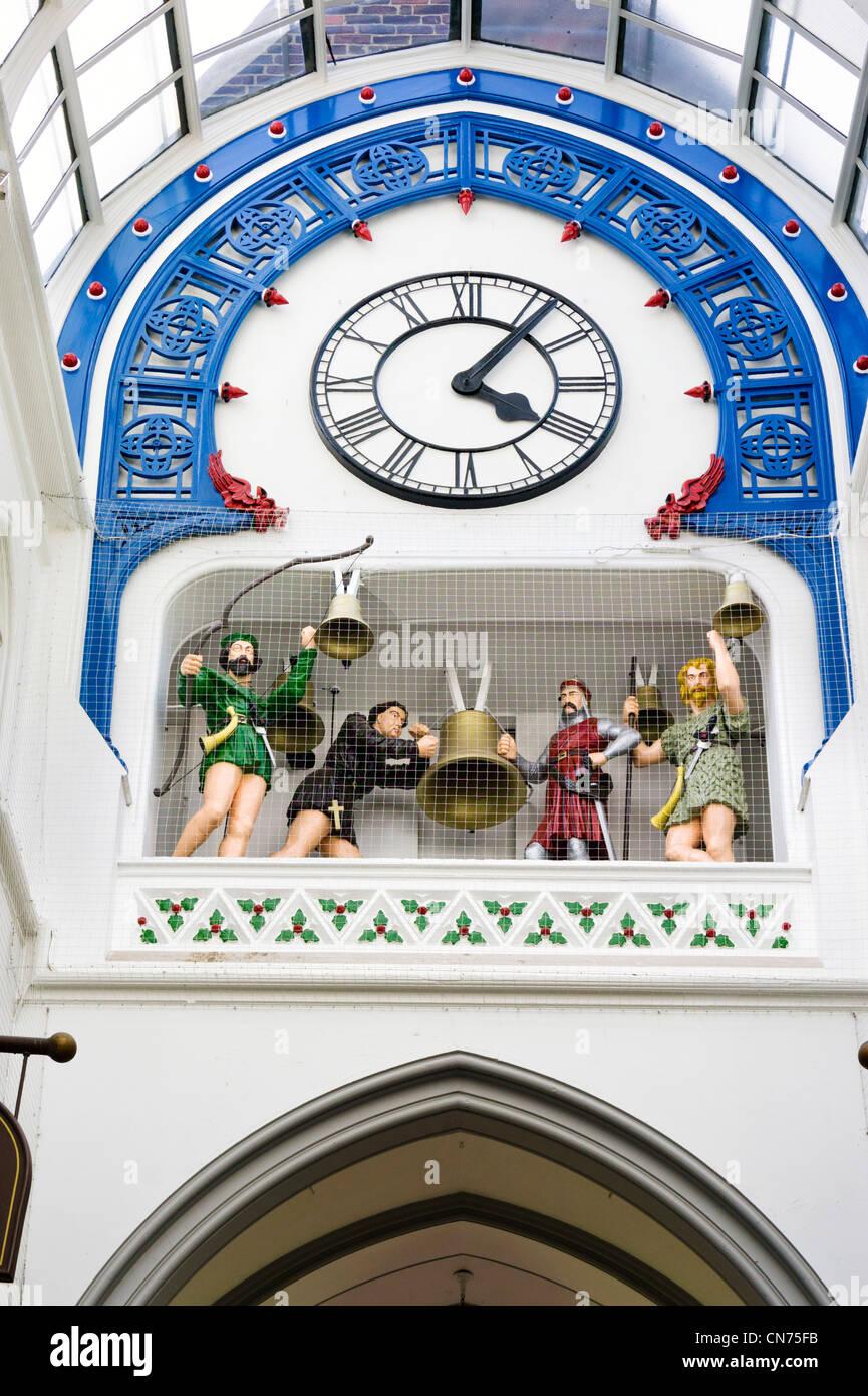 19thC clock in Thornton's Arcade, Briggate, Leeds, West Yorkshire, England - Stock Image