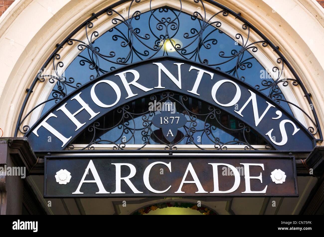 Entrance to Thornton's Arcade, Briggate, Leeds, West Yorkshire, England - Stock Image