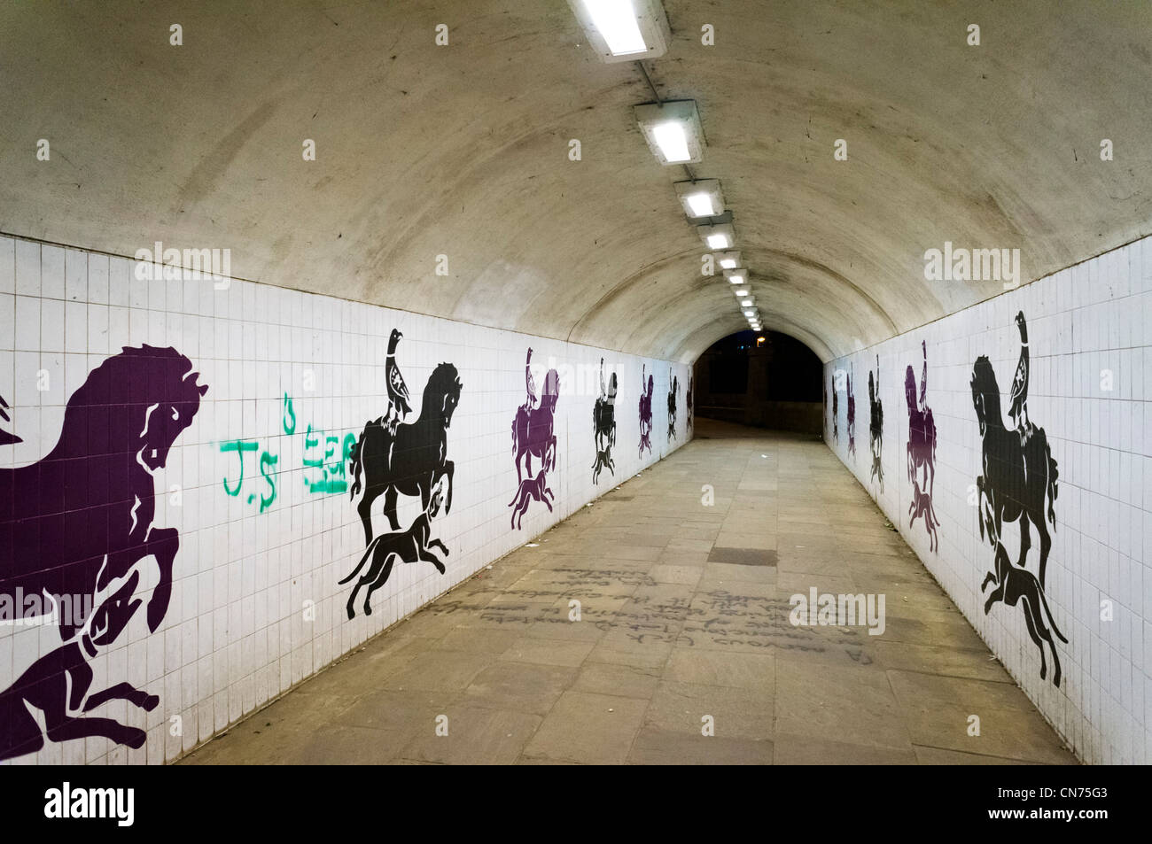 Empty pedestrian subway (underpass) at night, Leeds, West Yorkshire, England - Stock Image