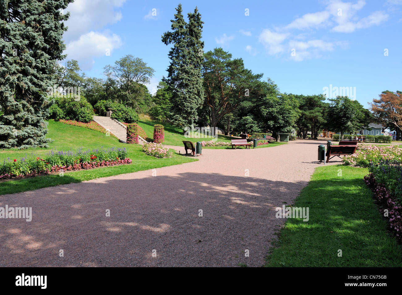 Church park of Hanko town is an idyllic and quiet place with plenty of room to have a picnic and relaxing. Church - Stock Image