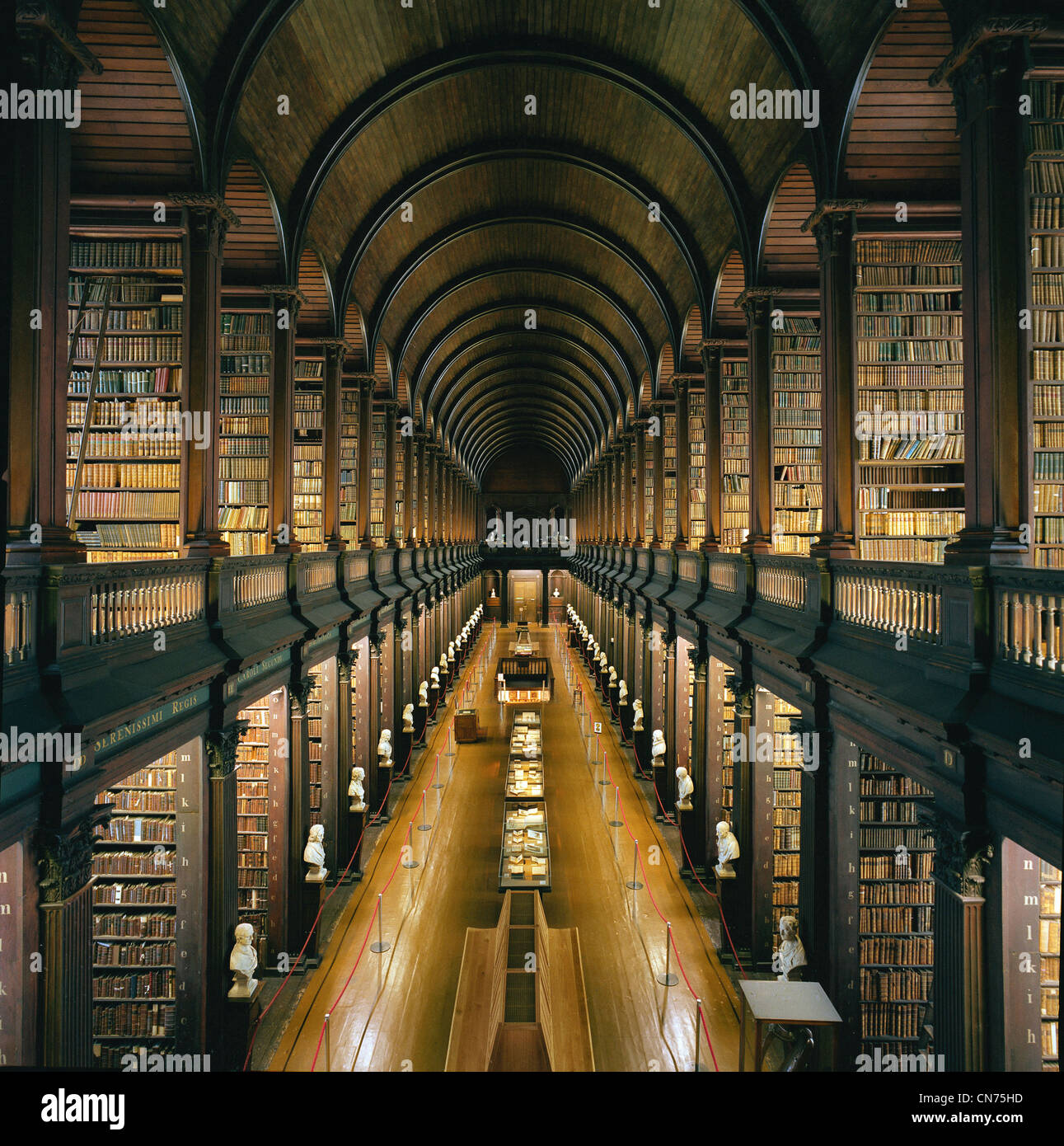 Library at Trinity College, Dublin - The Long Room - a beautiful, famous and historic old library in Ireland - Stock Image