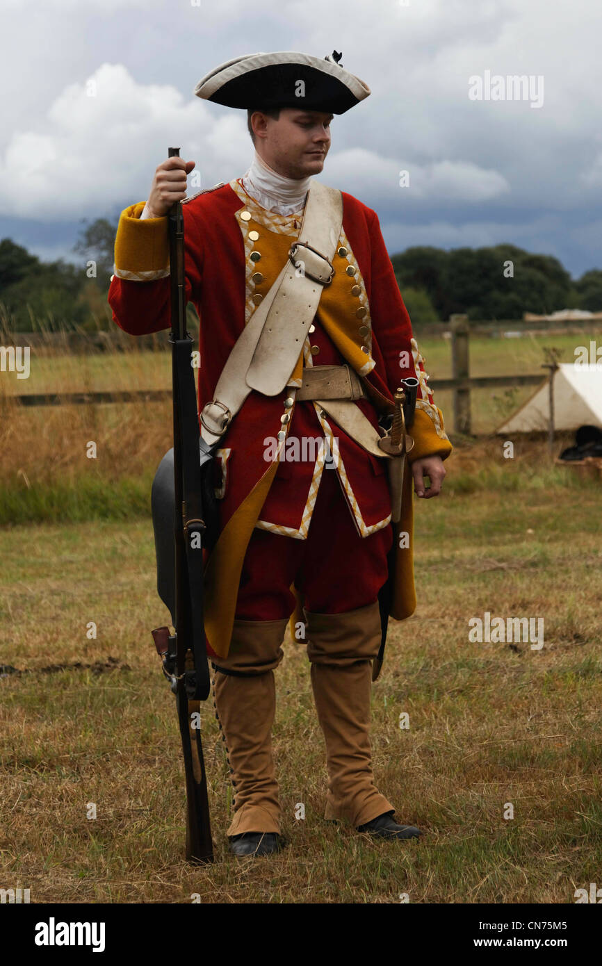 King Georges British Army 1740 -1800 North American & Caribbean Private Line Regime Foot - French & Indian - Stock Image