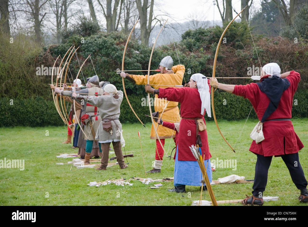 Archers in a Historic battle reenactment - Stock Image