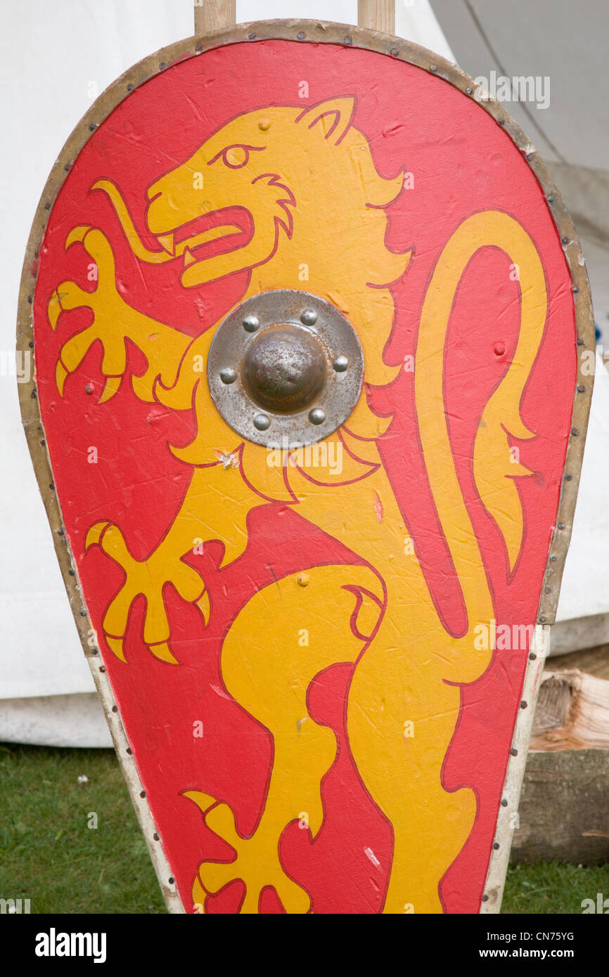 Shield of a lion used for historic battle reenactment - Stock Image