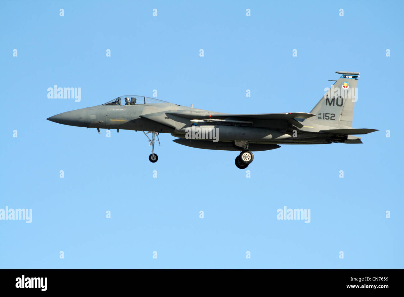 Moody AFB based F-15 Eagle landing at Nellis AFB during exercise Red Flag 2006 - Stock Image