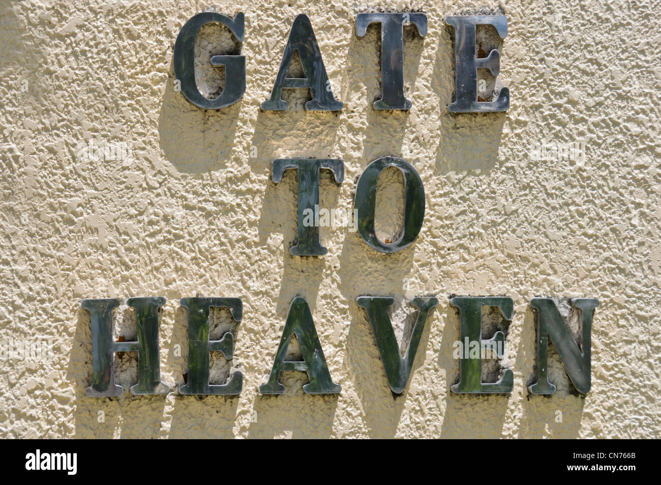 GATE TO HEAVEN sign capital letters cemetery Puerto Galera Oriental Mindoro Philippines Southeast Asia - Stock Image