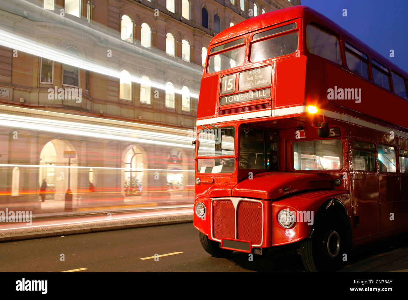 Route Master Bus in the street of London. Route Master Bus is the most iconic symbol of London as well as London's - Stock Image