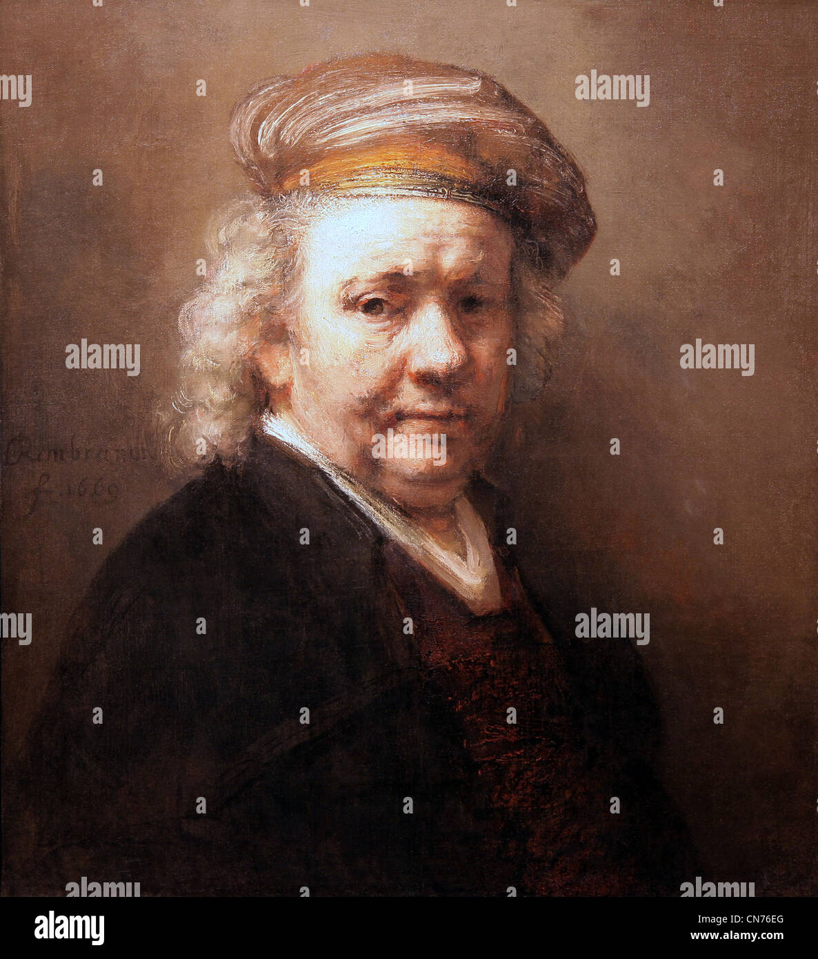 Rembrandt van Rijn,self portrait,selfportrait ,made in 1669,the year he died. - Stock Image