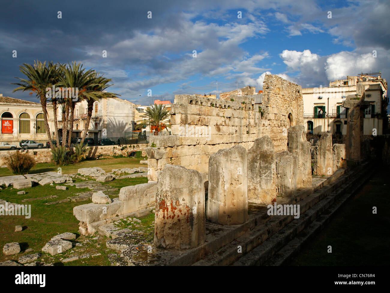 Temple of Apollo, Siracusa, Sicily, Italy - Stock Image