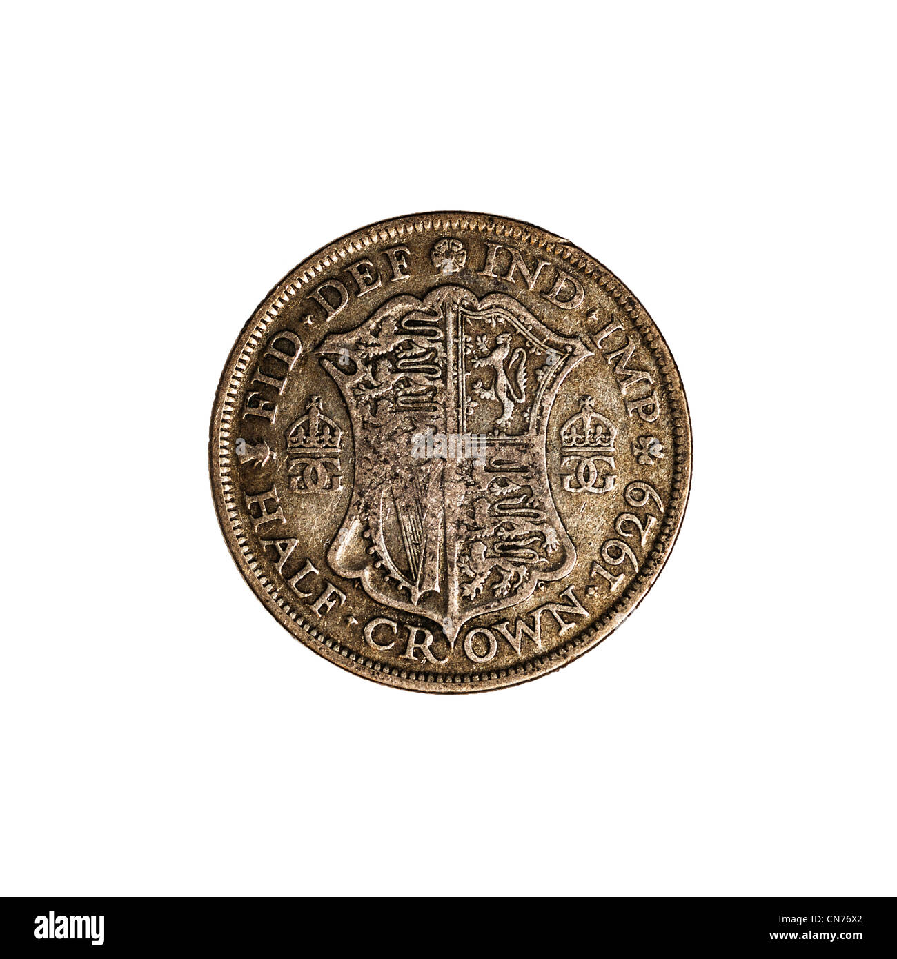 An English pre decimal half crown coin dated 1929 on a white background - Stock Image