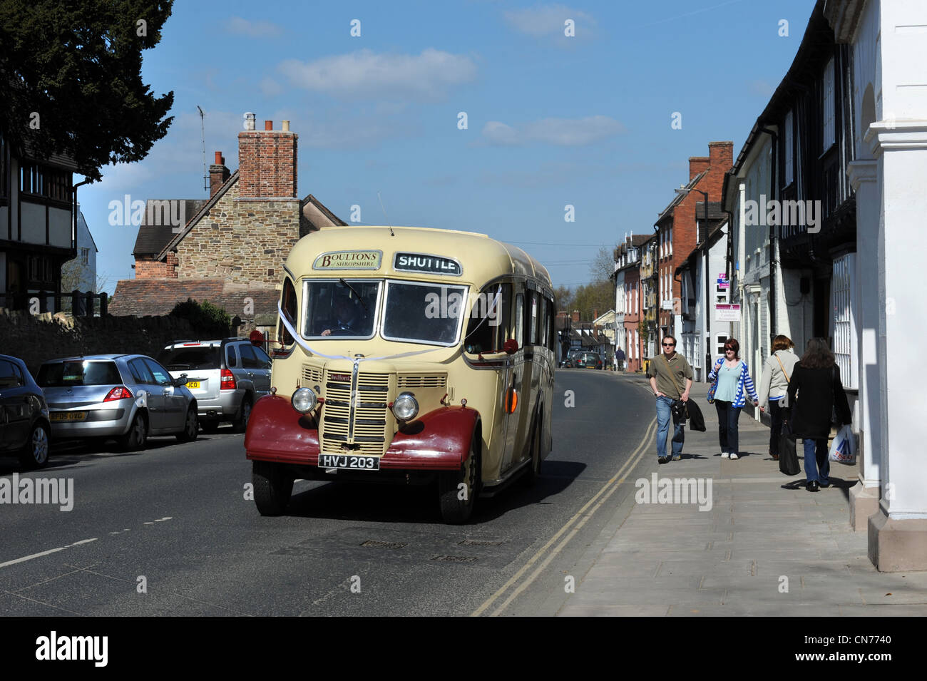 Old Bedford Bus in Ludow Shropshire Uk - Stock Image