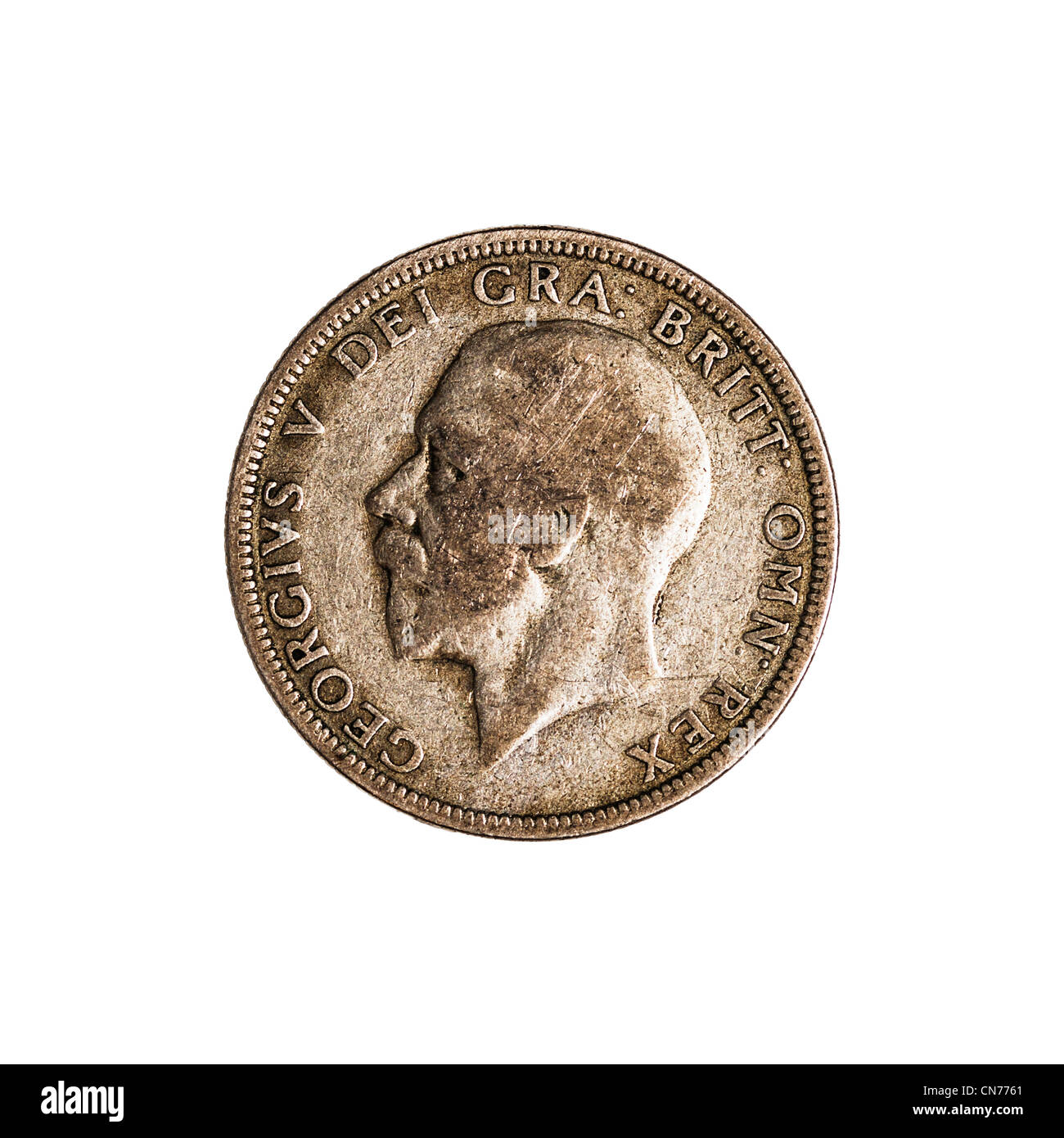 An English pre decimal one florin coin dated 1936 on a white background - Stock Image
