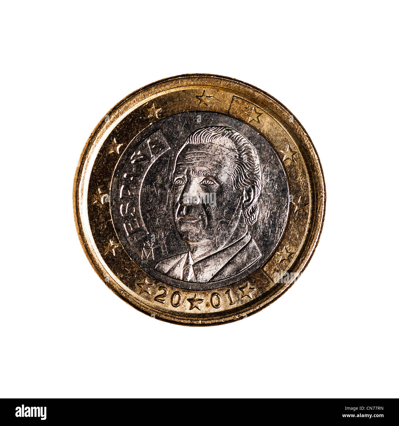 A one euro coin on a white background - Stock Image