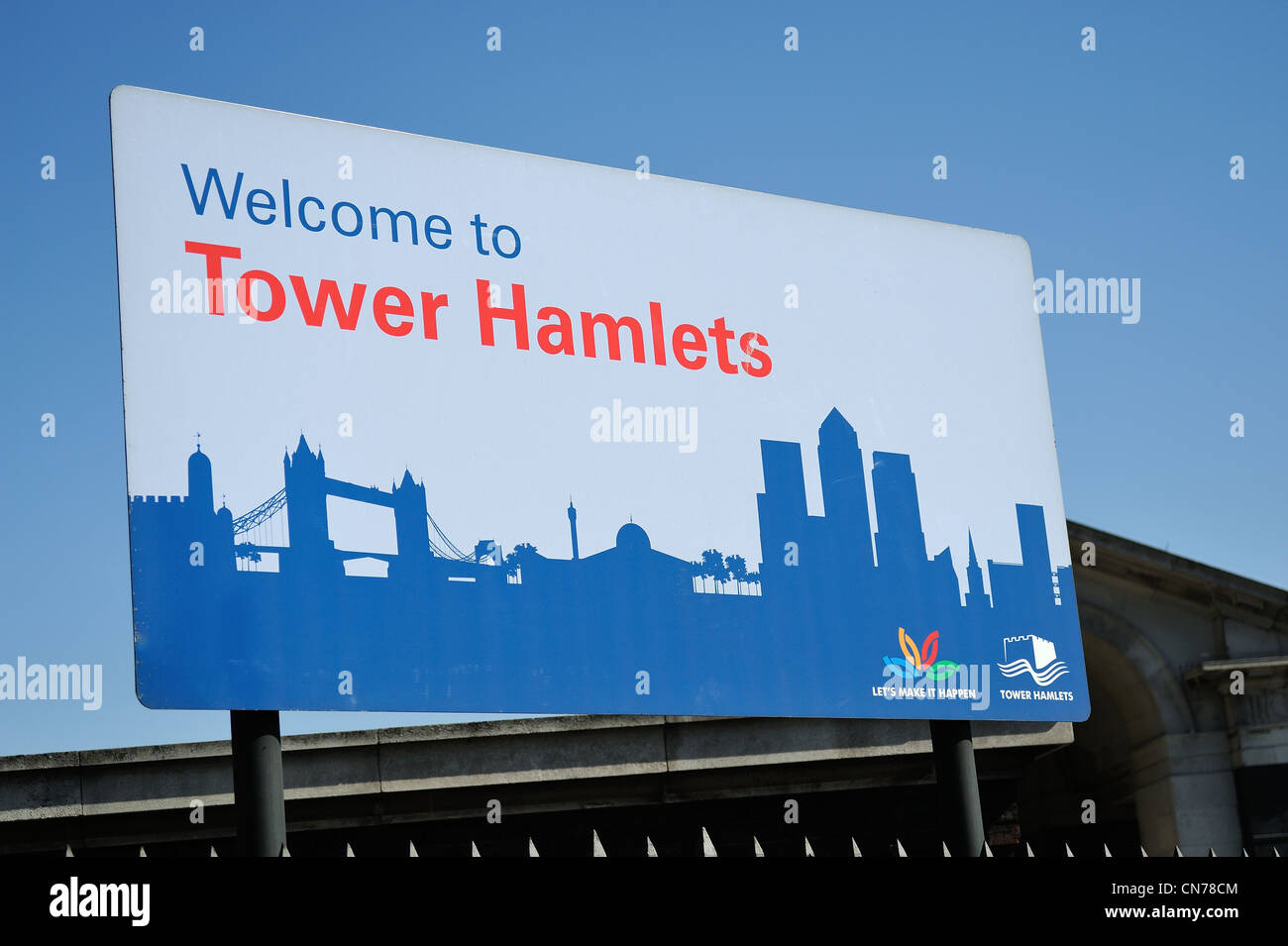 Welcome to Tower Hamlets Sign - Stock Image