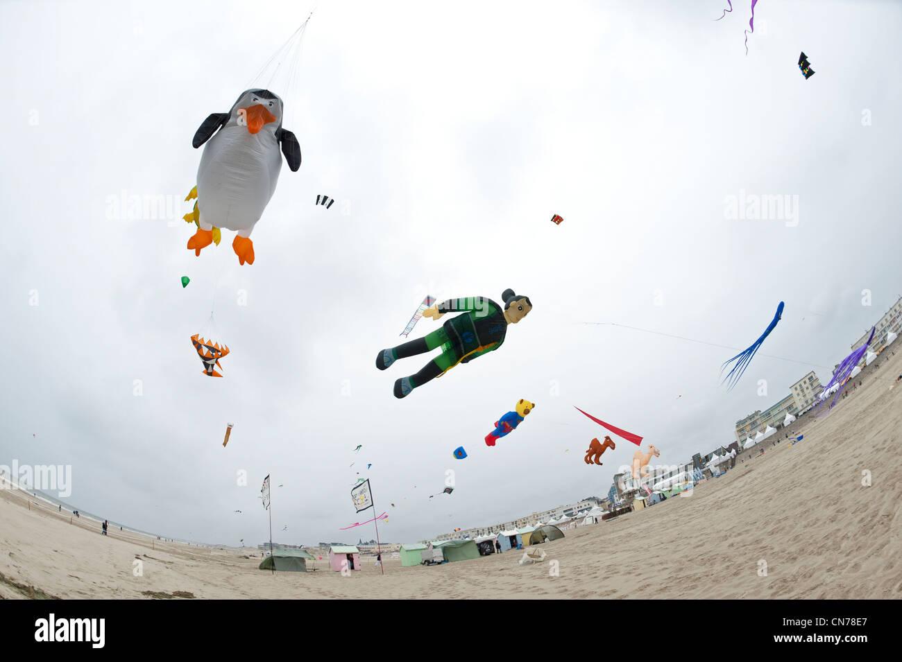 Berck sur Mer, International Kite Festival, Cerfs Volants - Stock Image