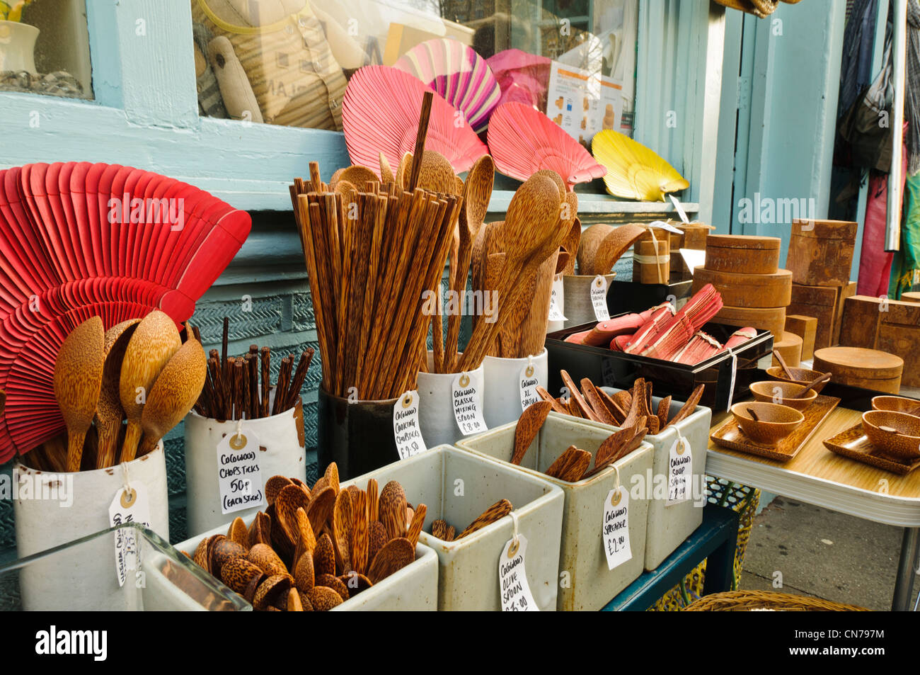 Shop selling wooden kitchen utensils in Columbia Road, East London - Stock Image