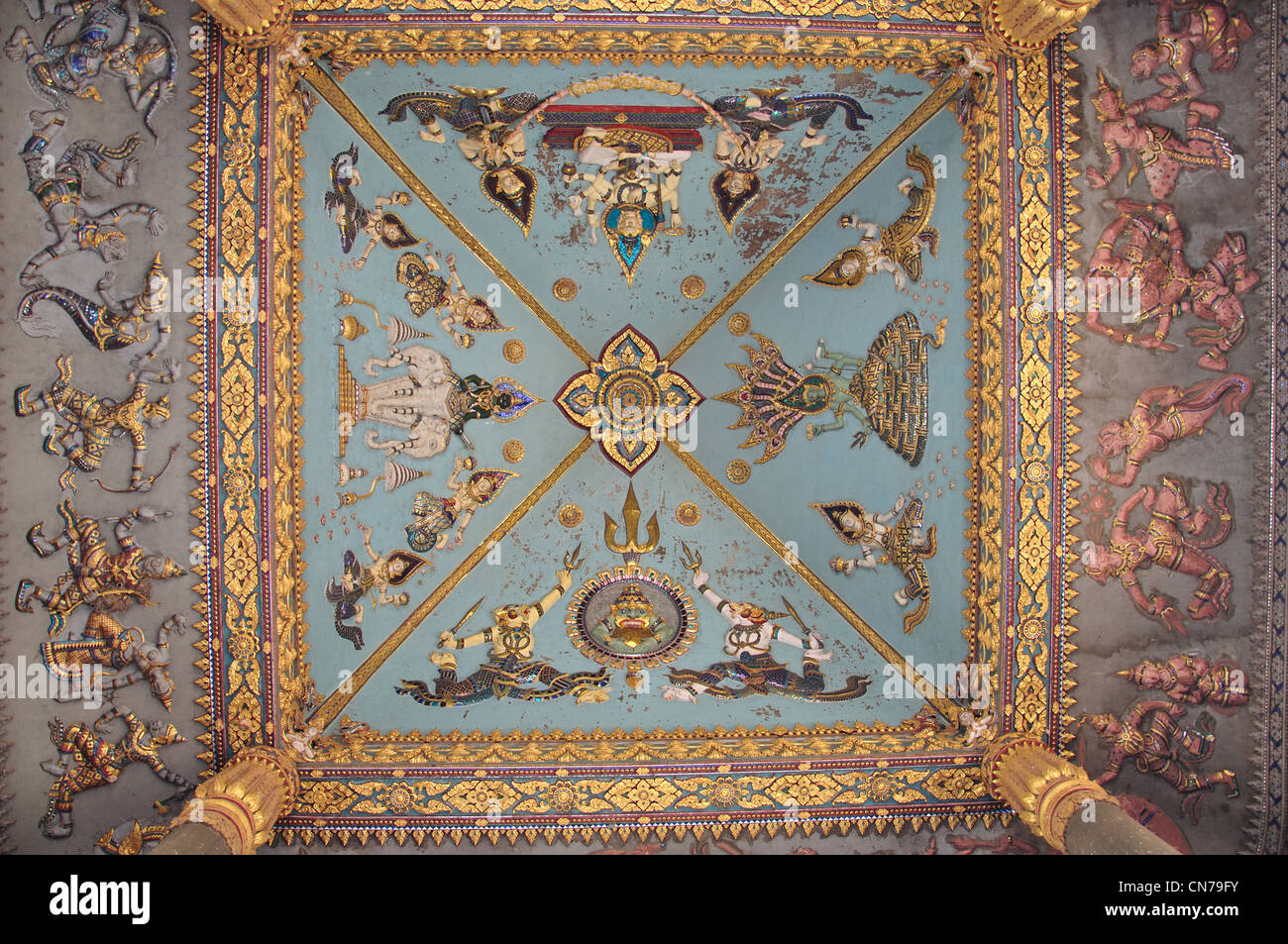 Interior decoration with depictions of the gods, Patuxai Gate, Thannon Lanxing, Vientiane, Vientiane Prefecture, - Stock Image