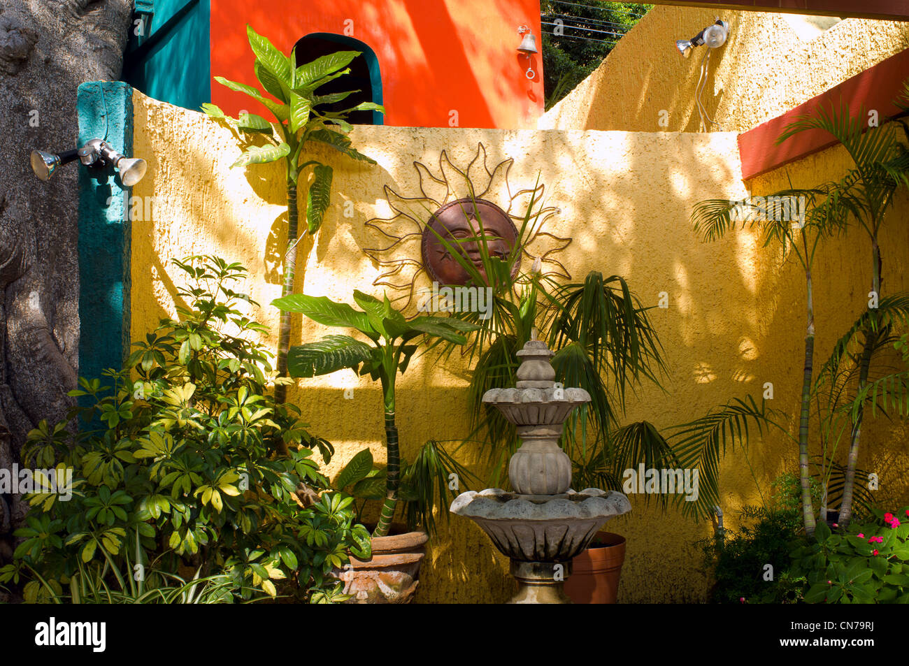 marvelous Mexican Style Wall Decor Part - 17: Colorful patio wall and entrance with plants and decorations of Mexican  style home