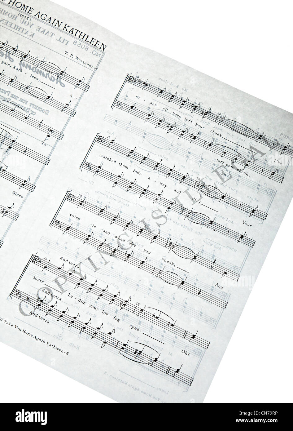 Sheet music overprinted with Copying is Illegal - Stock Image