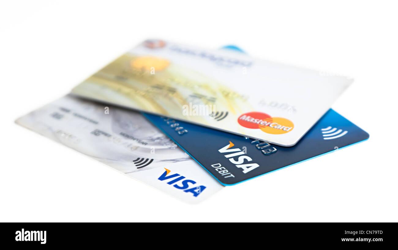 Visa and Mastercard credit and debit cards cutout - Stock Image