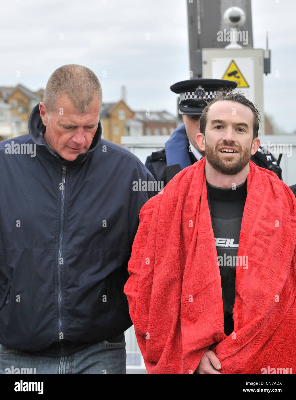 Protester against elitism Trenton Oldfield arrested but looking smug after stopping the 158 th Oxford verses Cambridge - Stock Image