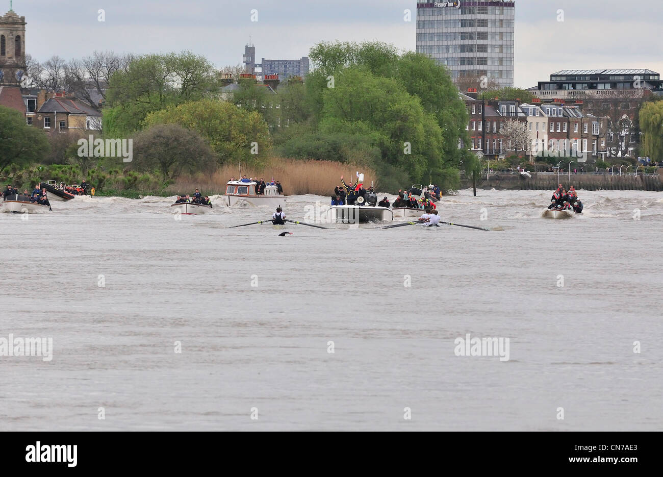 Protester swims into Oxford and Cambridge 'blades' causing the race to stop and be restarted 2½ miles into - Stock Image