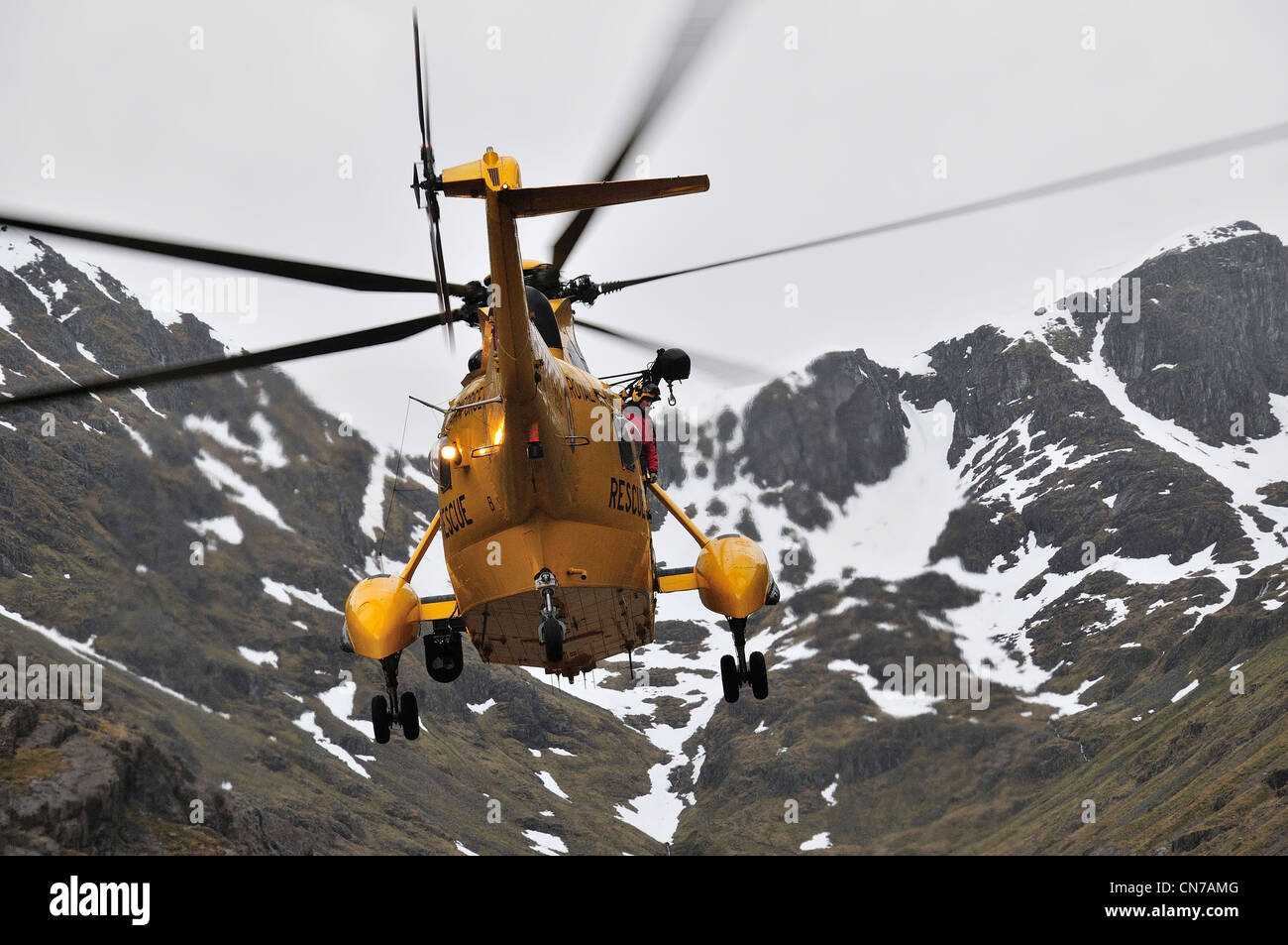 RAF Westland Sea King search and rescue helicopter, Lost Valley, Glencoe Stock Photo