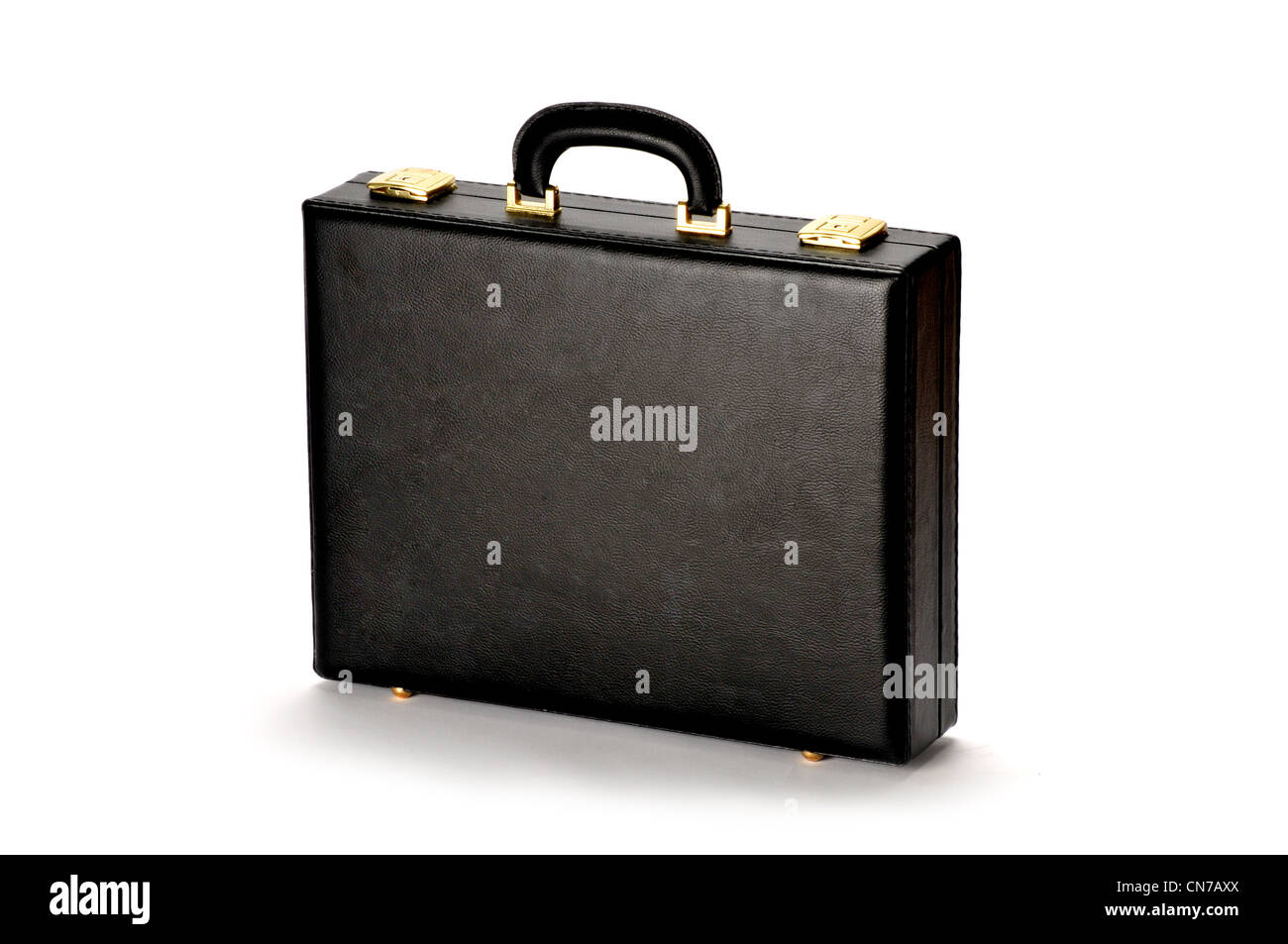 black briefcase on white - Stock Image