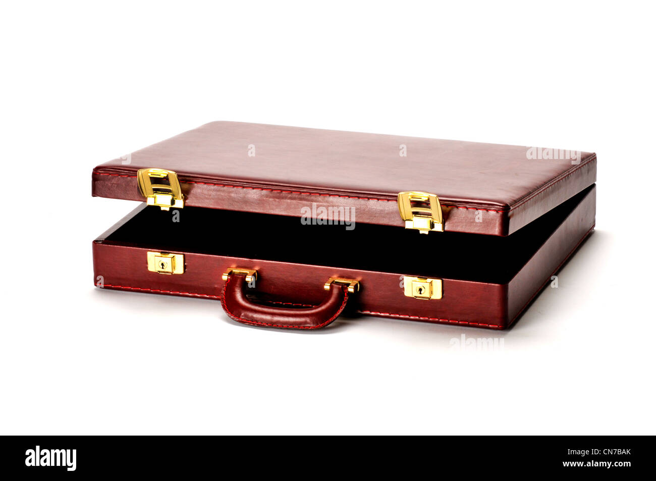 BURGANDY BROWN briefcase on white background - Stock Image