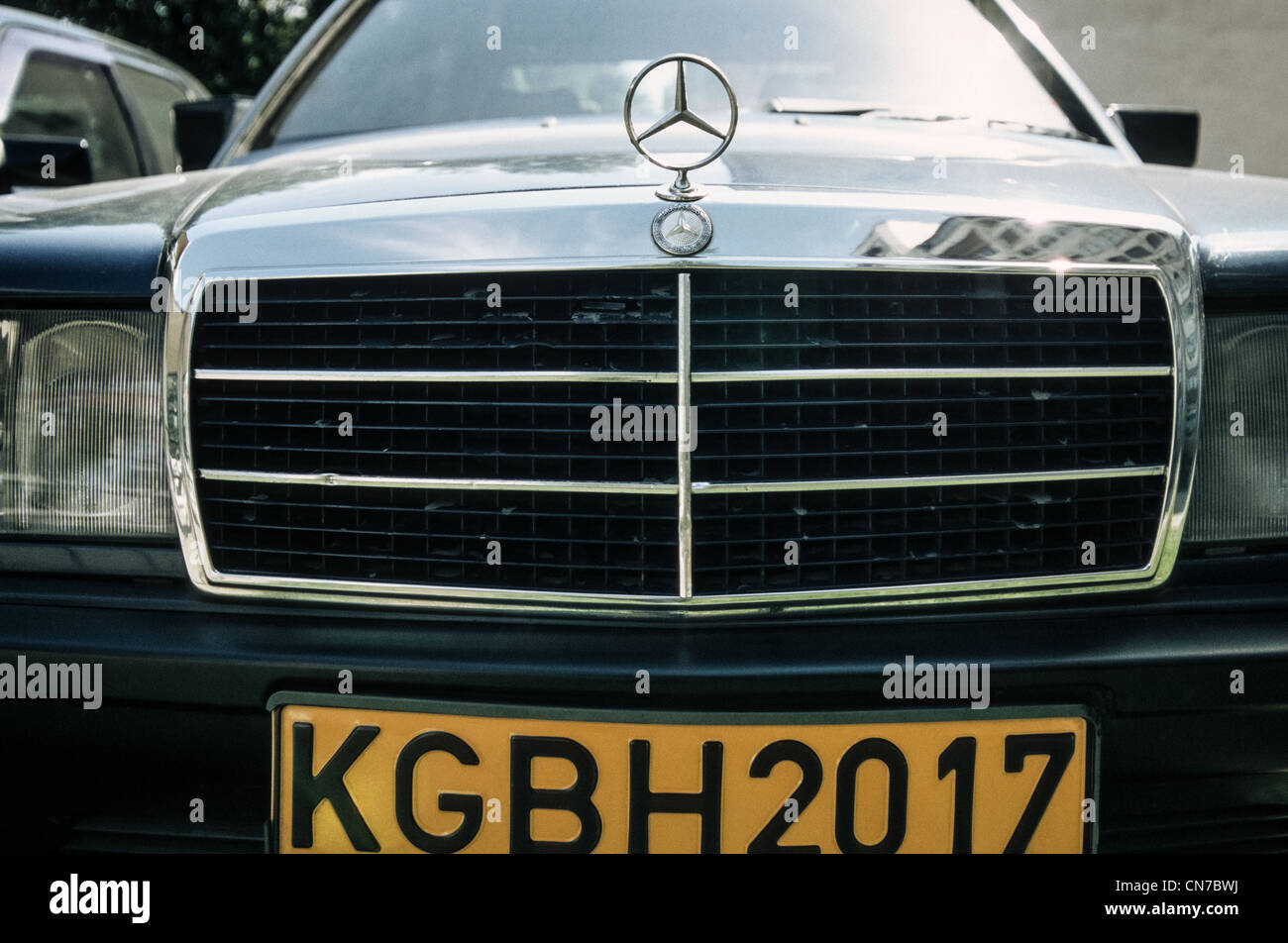 Mercedes-Benz car with KGB license plate, Bishkek, Kyrgyzstan - Stock Image