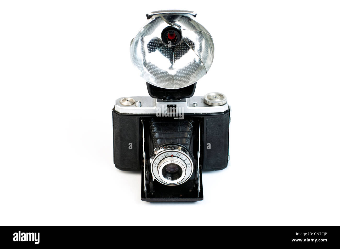 Vintage camera with a flash gun - Stock Image