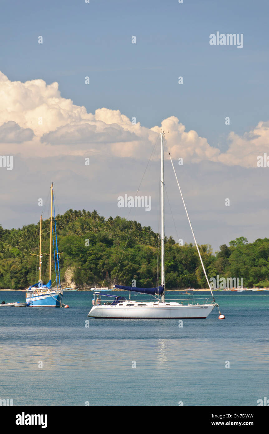 Sailboats, sloop, ketch, Puerto Galera Yacht Club, PGYC, Puerto Galera Bay, Oriental Mindoro, Philippines, Southeast - Stock Image
