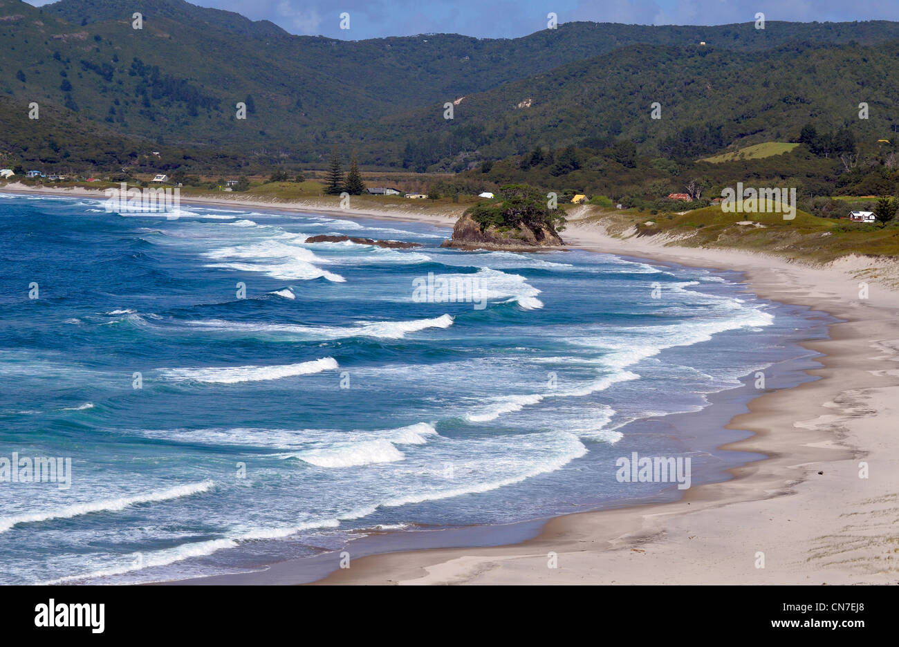 Waves, surf and sand dunes, Medlands Beach, Great Barrier Island, Hauraki Gulf, New Zealand - Stock Image