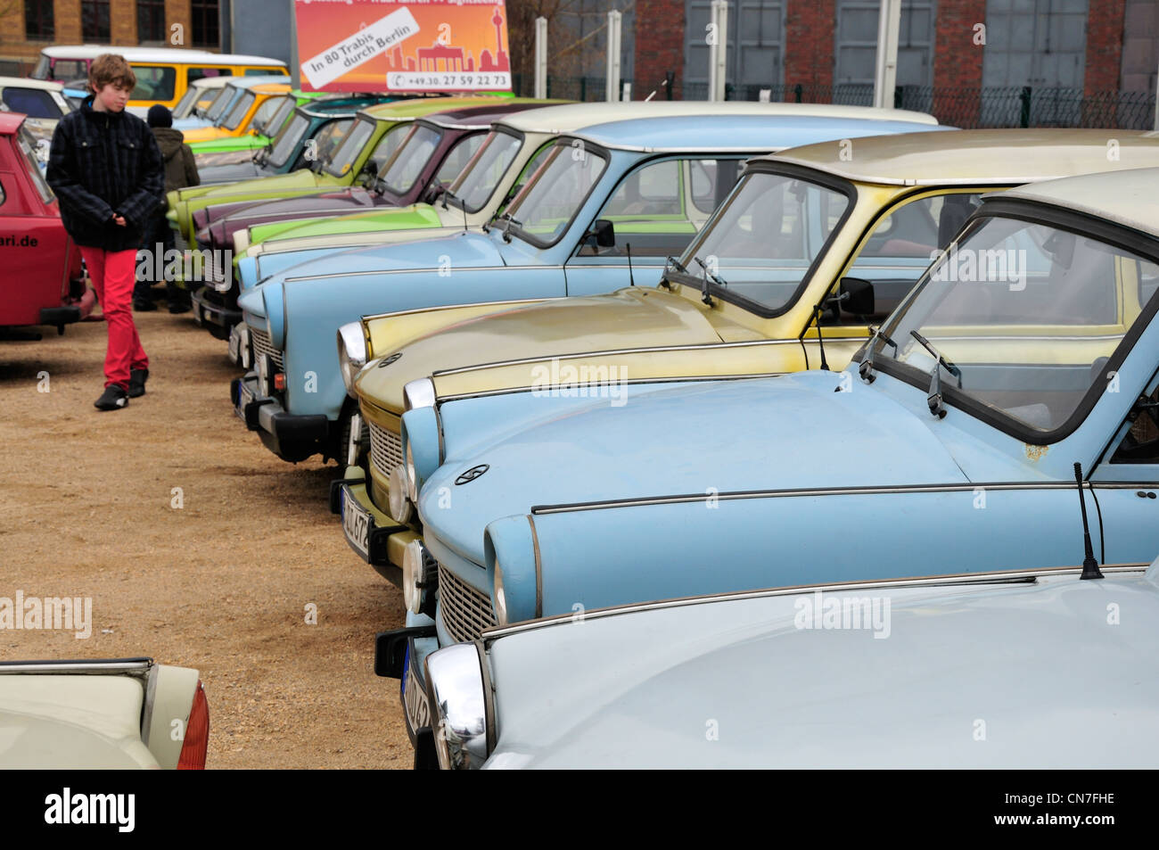 Berlin, Germany. Old Trabant cars in 'Trabi World' in Wilhelm Strasse, near Checkpoint Charlie - Stock Image