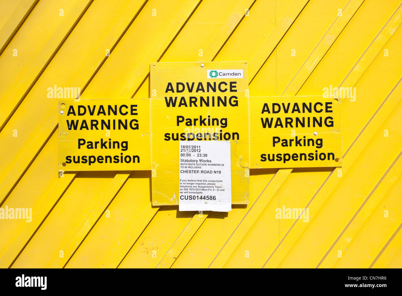 Advance warning Parking suspension - Stock Image