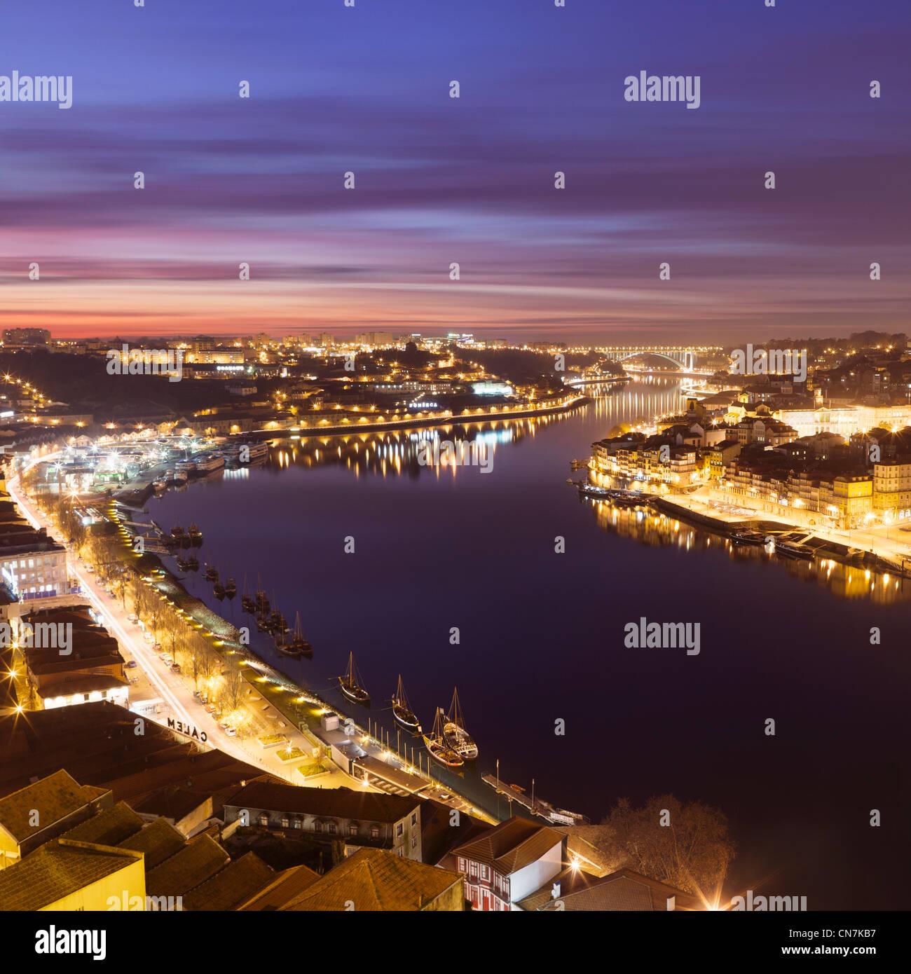 Porto skyline lit up at night - Stock Image