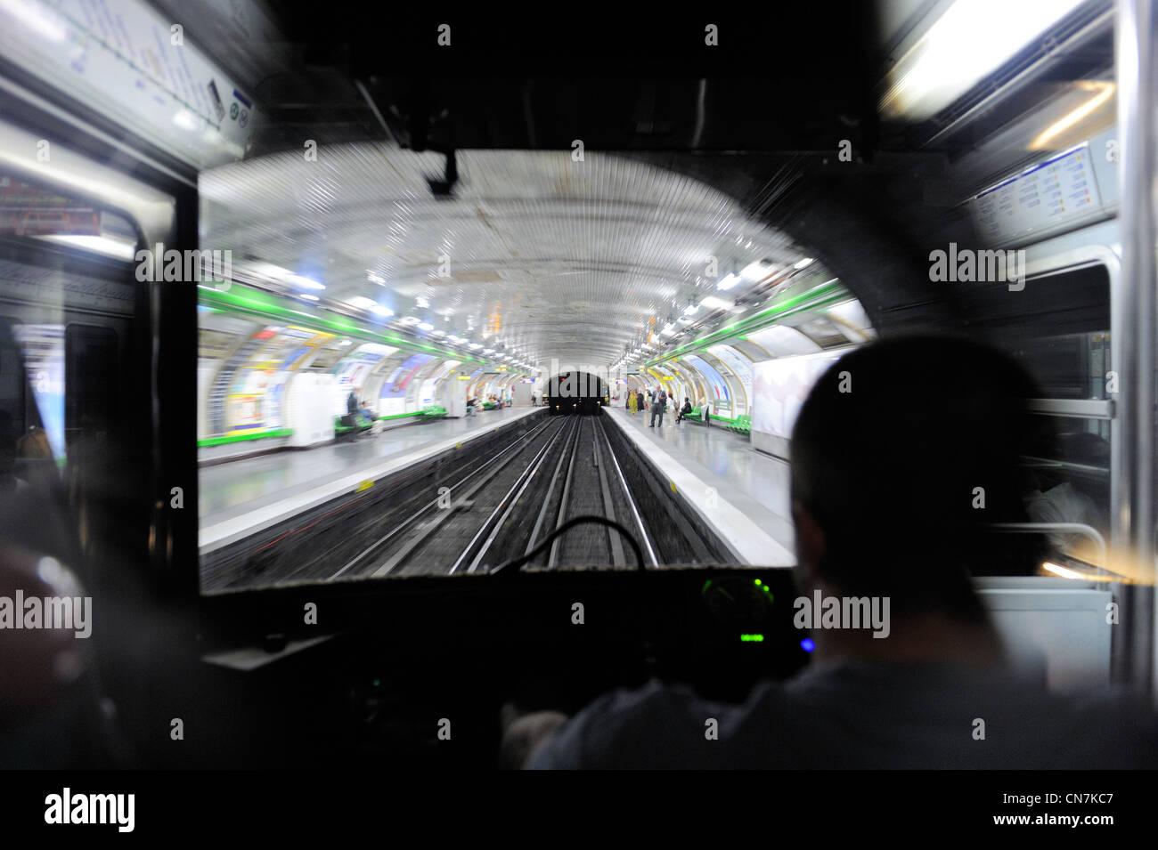 France, Paris, travel in the Paris metro - Stock Image